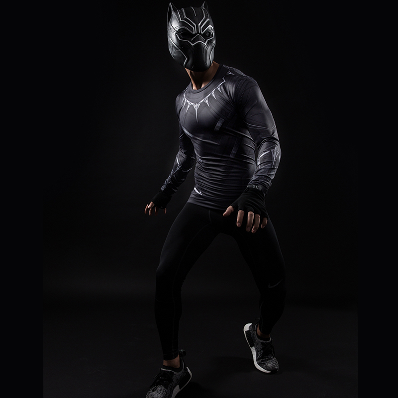 Black Panther 3D Printed T-shirts Men Compression Shirt Captain America long Sleeve Cosplay Halloween Costume For Men Tops Male 3