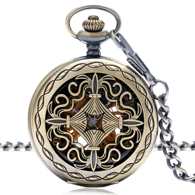 Antique Steampunk Chinese Knot Hollow Carving Mechanical Hand Wind Pocket Watches Bronze Fob Clock Top Gift