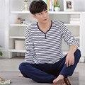 Men's Pajamas Set Spring&autumn leisure 100% Cotton stripe Sleepwear Long sleeve Round collar Homewear set Wear outside pyjamas
