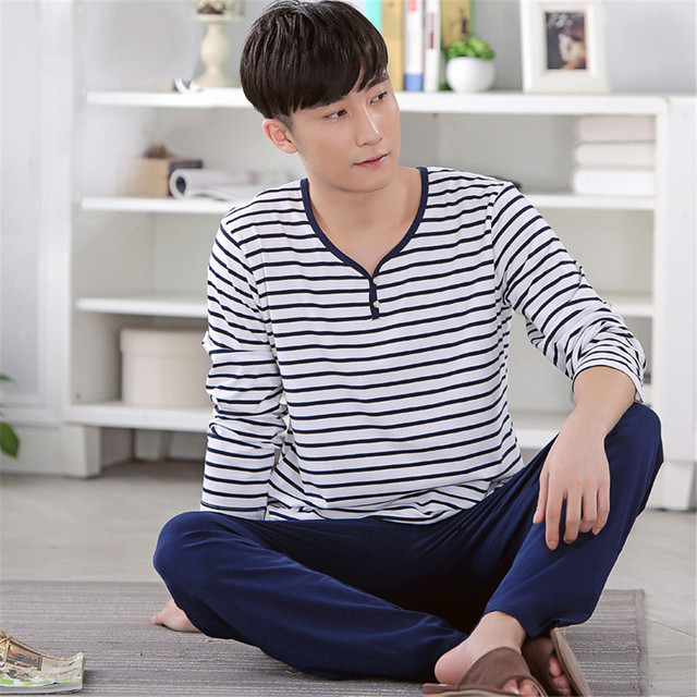Men's Pajamas Set Spring&autumn leisure 100% Cotton stripe Sleepwear Long sleeve Round collar Homewear set Wear outside pyjamas