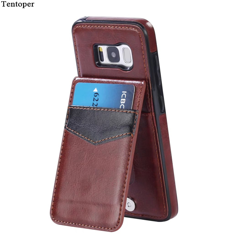 Vertical Flip Card Holder Leather Case For iPhone 7 7 Plus Retro Cover Phone Bag Case For Samsung Galaxy S8 S8 Plus Fundas Pouch