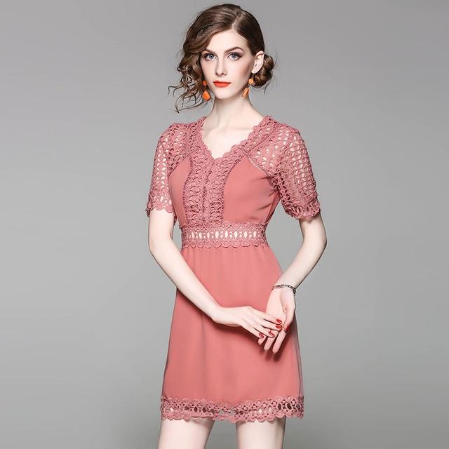 Aliexpress rote wasserlösliche blume hohl einfarbig kleid online ...