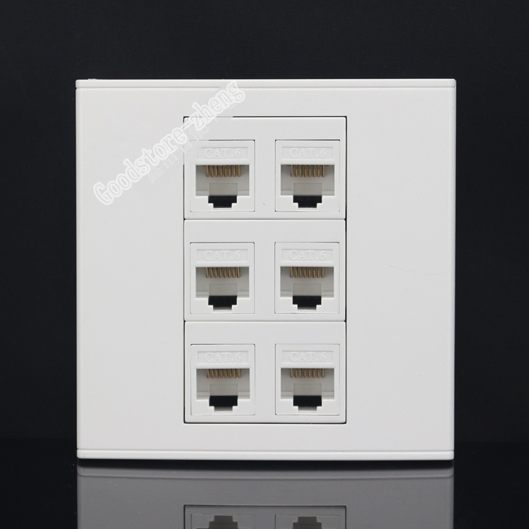 цена на Wall Socket Plate 6 Ports LAN Network RJ45 Cat6 Port Panel Faceplate Keystone Outlet 86*86mm Home Adapter Wholesale Lots