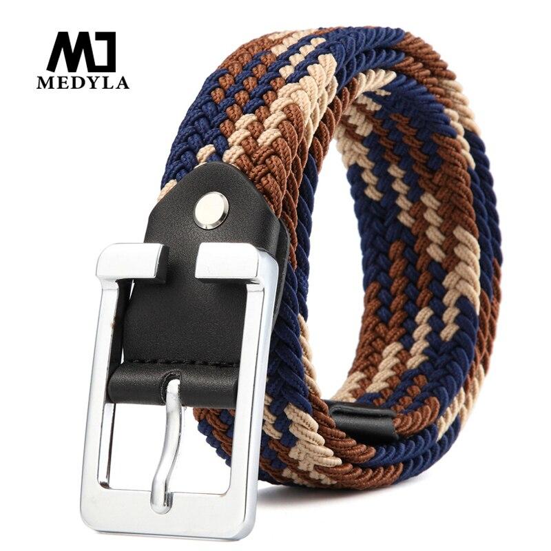 MEDYLA Men's woven   belt   Men's and women's casual canvas pin buckle   belt   elastic elastic wild youth   belt