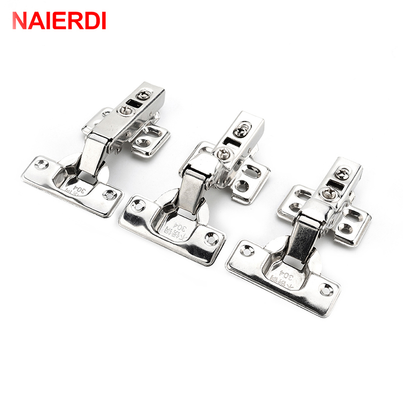 4PCS NAIERDI C Serie Hinge Stainless Steel Door Hydraulic Hinges Damper Buffer Soft Close For Cabinet Kitchen Furniture Hardware
