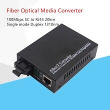 Singe 모드 듀플렉스 파이버 10/100 mbps 광섬유 미디어 컨버터 wavelenth 1310nm 20 km rj45 sc 커넥터