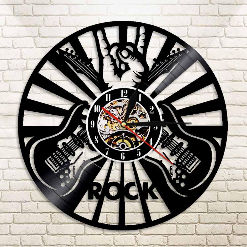 1Piece Guitar Rock Vinyl Record Wall Clock Roll N Roll Music Wall Clock Creative Home Decor Gift For Music Lover Guitarist