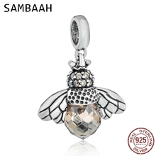 Sambaah Dangle Bee Charm Pendant with Faceted CZ Stone 925 Sterling Silver Beads fit Pandora Animal Bracelet SS3266