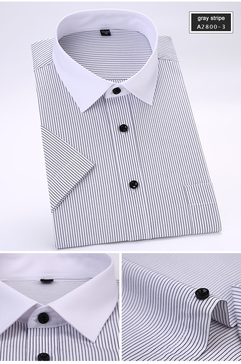 fb11e68b955 2018 New Summer Business Formal Striped Short Sleeve Men Shirts White Collar  Non-iron Elegant Male Work Shirts with chest pocket