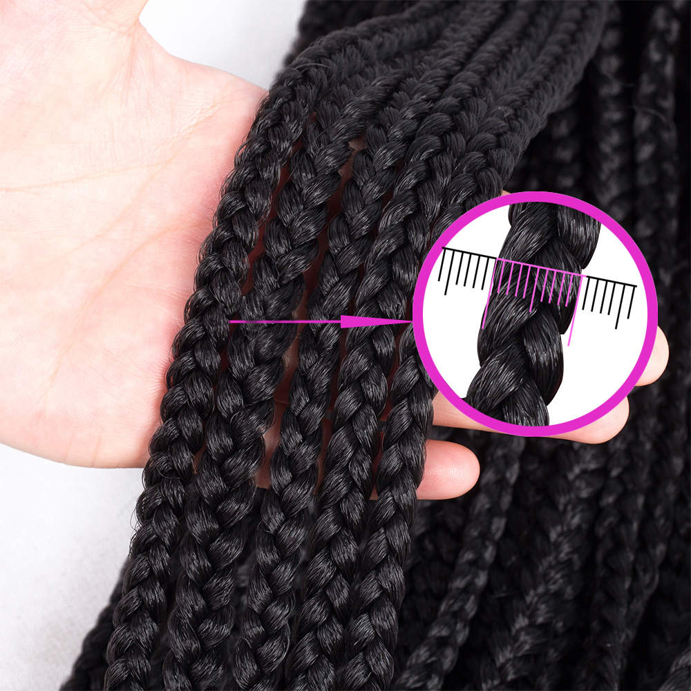 Box Braids 22 Inches Extensions Ombre Pink Purple Synthetic Crochet Braids 85 grams/pack free shipping Crochet Hair(China)