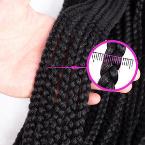 Extensions Crochet-Hair Box-Braids Purple Ombre Synthetic Pink 85 22-Inches Grams/Pack