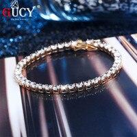GUCYIced Zircon 4&6 mmTennis Chain Men's Hip hop Jewelry 925 Sterling Silver Gold Silver Lobster Clasp CZ Bracelet Link 7 8 inch