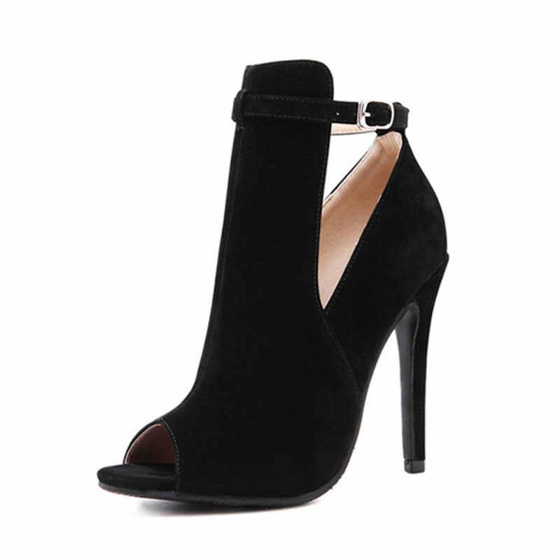 2018 été femmes mode velours poisson bouche souper mince talon haut boucle discothèque sandales femme fête Sexy sans lacet Rome chaussures
