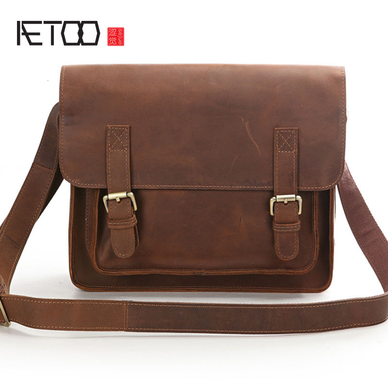 AETOO The first layer of leather Europe and the United States retro classic fashion import mad horse leather shoulder Messenger aetoo europe and the united states trend of the first layer of planted tanned leather men handbags hand ladies shoulder diagonal