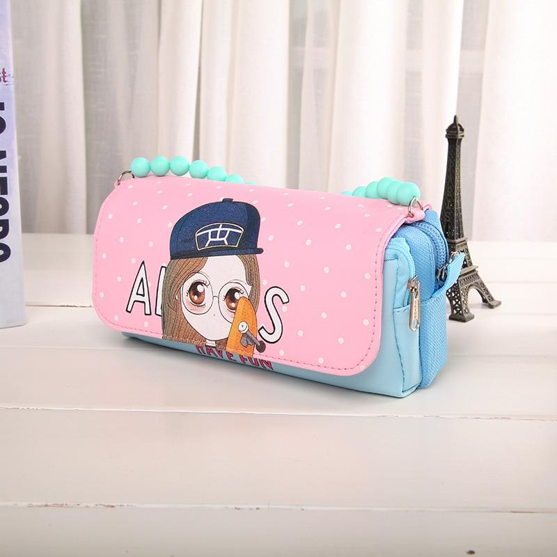 Cartoon girl PU leather multifunction school supplies pencil case cute stationery pencil bag pencil case girl free shipping рюкзак girl pu yt00172334