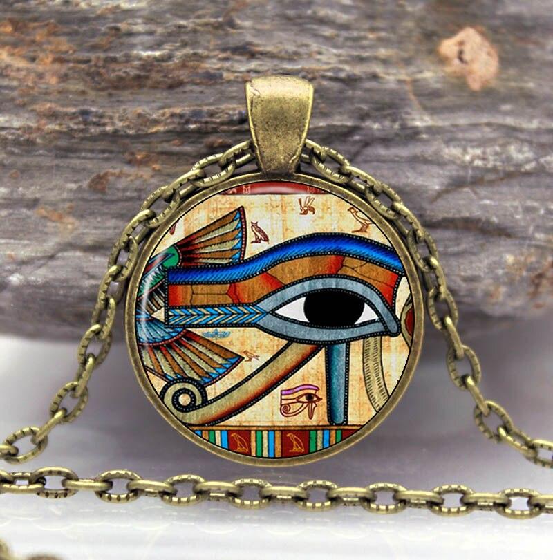 Eye of Horus Necklace Pendant Wedjat Eye Jewelry Round ...