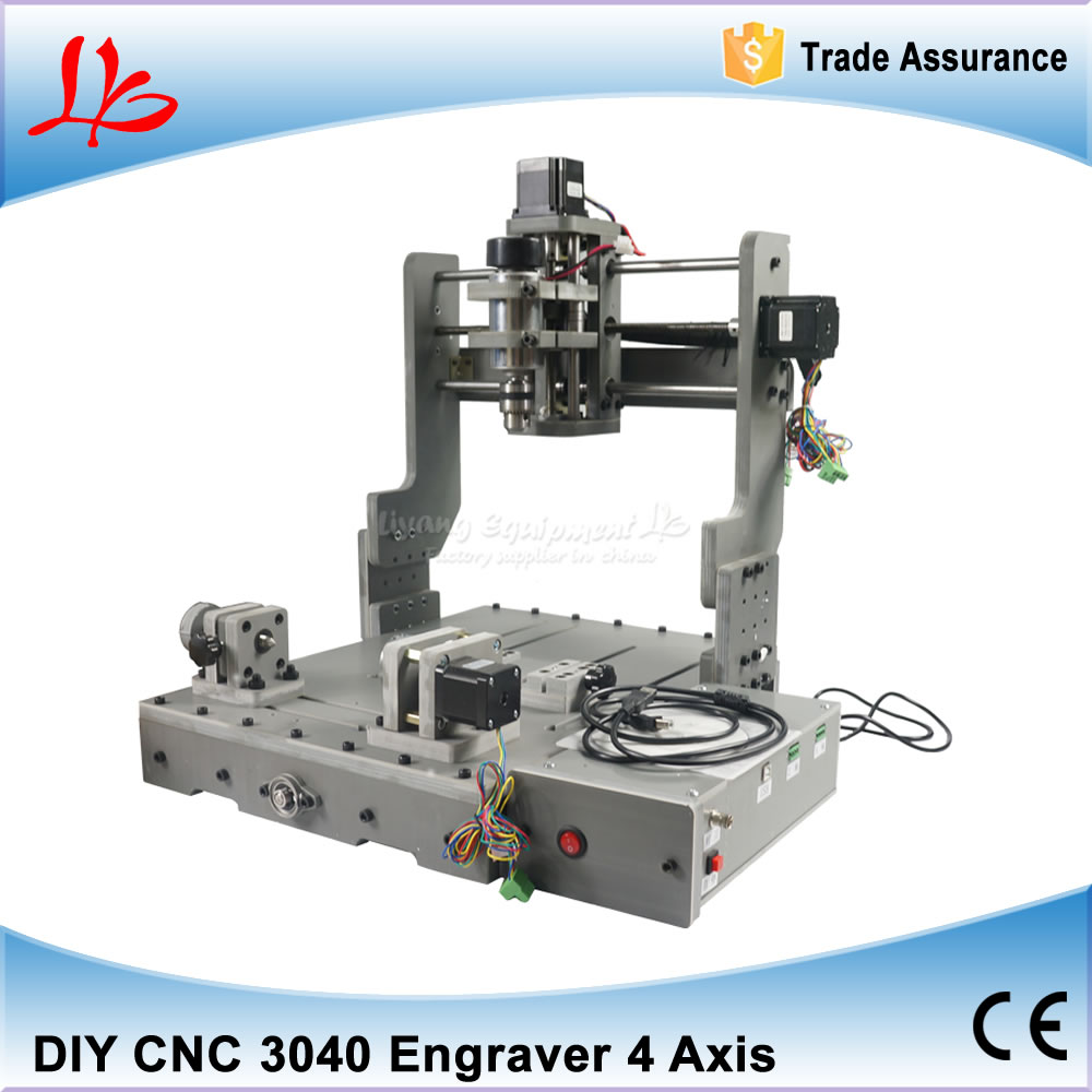 4 Axis CNC Machine, Mach3 Control CNC Wood Router Engraver CNC 3040, PCB Milling Machine With 300*400 Engraving Area new usb mach3 three axis 4030z 3040 800w cnc router engraver engraving machine
