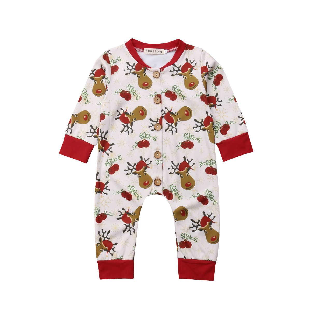 Детская одежда для девочек и мальчиков хлопок комбинезон с оленем  Рождественская Пижама Длинные рукава Одежда для 9599214f2aecd