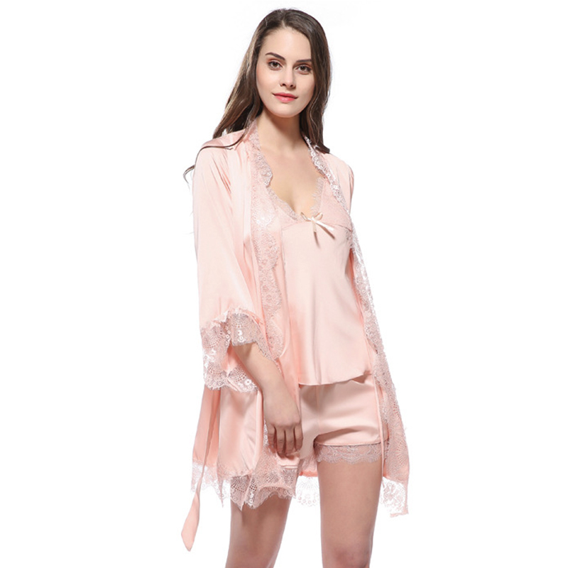 Autumn Lace Bathrobe Sexy Lingerie Spaghetti Strap Tops Shorts Silk kimono Robe Nightwear   Pajama     Set   Satin Pijama Pyjama
