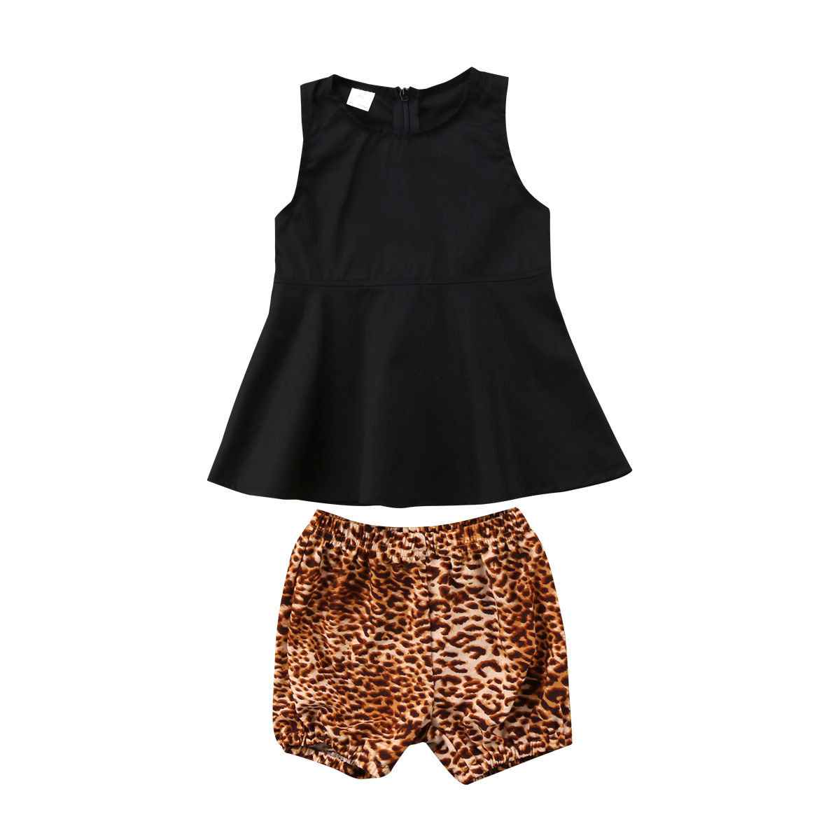 Newborn Kid Baby Girls Summer Tops Dress+ Leopard Shorts ...
