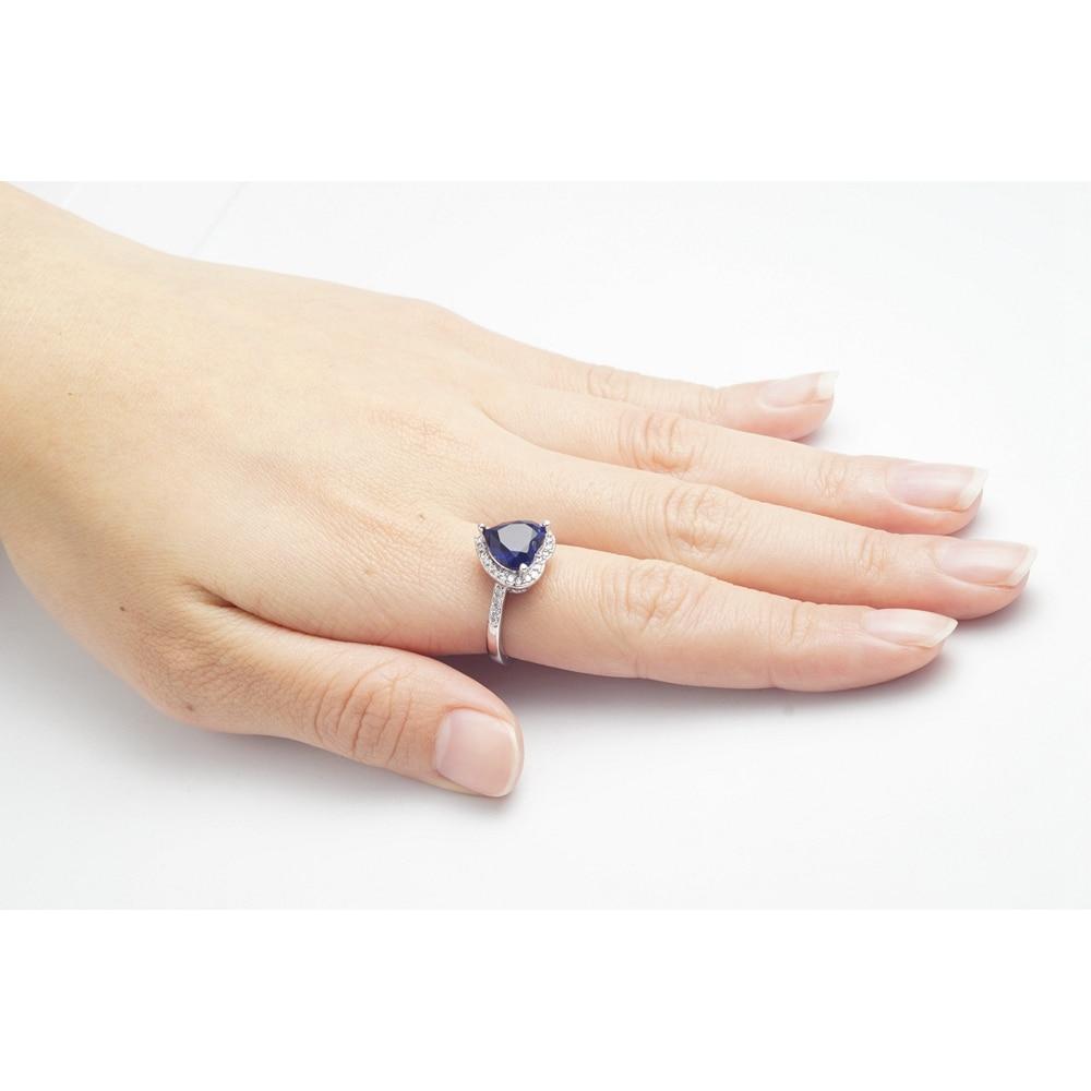 Yunkingdom love heart design fashion romantic ring dark blue cz crystal Rings for Women costume jewelry X0030 4