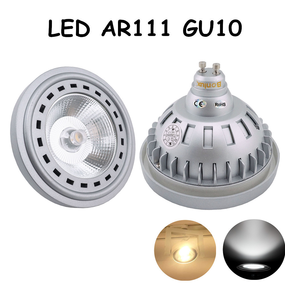 GU10 Base 12W AC 85-265V LED AR111 GU10 Light Bulb CREE COB Chip Led Spotlight Bulb with 75-100W Halogen Equivalent 15w br40 led light bulb not dimmable e27 e26 screw base wide beam angle 120 degrees 100w halogen bulb equivalent