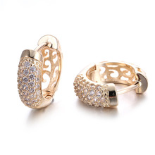 Gold 585 Color Zircon Jewelry Brincos De Noiva Hoops Earrings For Women Wedding Vintage Aros Boucle d'Oreille QE022