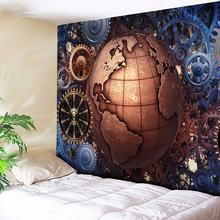 Nordic Morocco Tapestry Wall Hanging Gear Globe Print Golden Desert Art Wall Carpet Couch Blanket Decorative Tapestry for Home