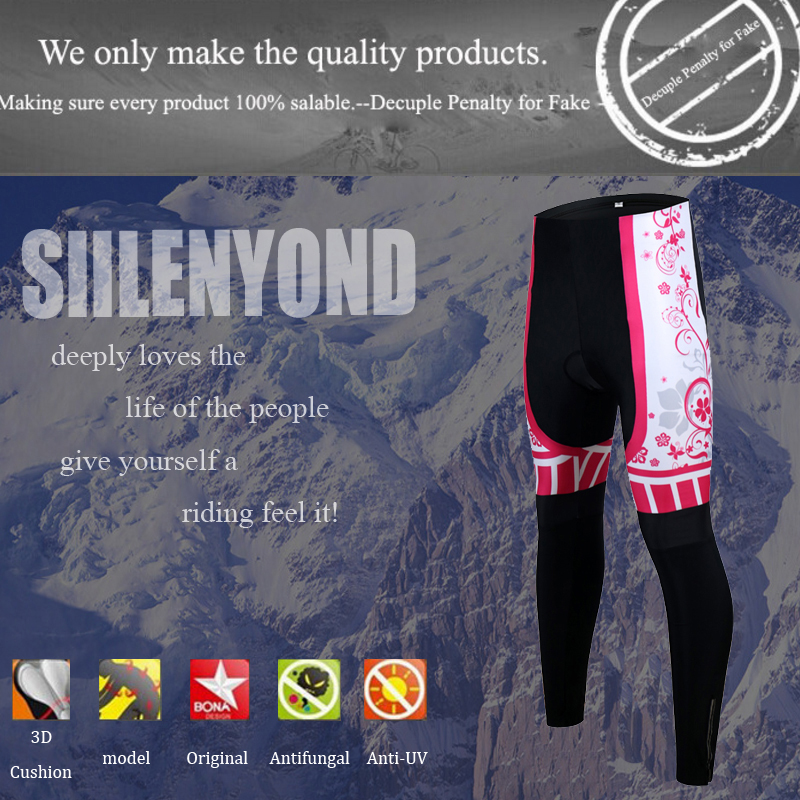 Siilenyond 2019 Women Pro Winter Thermal Cycling Pants Shockproof Cycling Trousers With 3D Gel Padded MTB Bike Cycling Tights 1