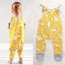 Baby Childern Romper Clothing Infant Baby Kid Girl Clothes Romper Yellow Sleeveless Jumpsuit Outfits One-pieces Costume