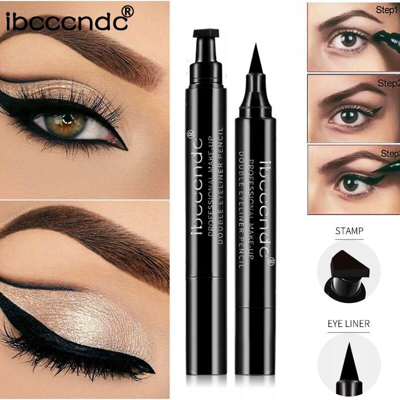 Beauty Essentials Eyeliner Popular Brand 1pcs Double-headed Seal Black Eyeliner Triangle Seal 2-in-1 Waterproof Eyeliner Pencil Cosmetic Eyes Makeup Eyeliner Pen Stamp