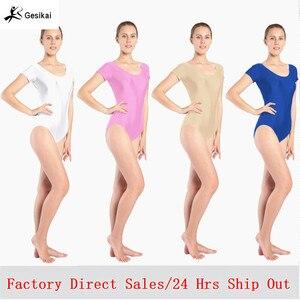 Image 1 - Women Black Red Green Whit Leotard Short Sleeves Ballet Dancewear Lycra Spandex Leotards Bodysuit Gymnastics Costume Unitard