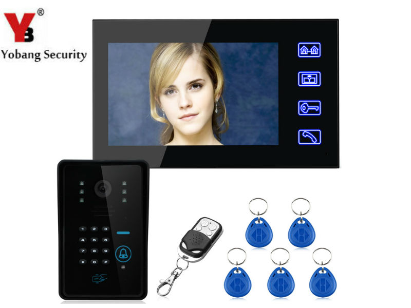 YobangSecurity Touch Key 7Inch Lcd RFID Password Video Door Phone Intercom System Wth IR Camera Remote Access Control System jeruan home 7 video door phone intercom system kit rfid waterproof touch key password keypad camera remote control in stock