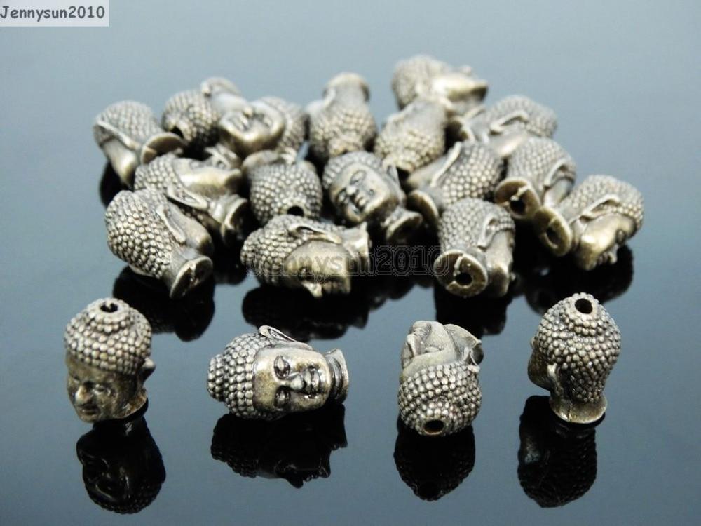 81005b56d Sólido de Metal de Bronze Antigo Do Vintage Cabeça de Buddha Pulseira  Conector Charme Beads 50 Unidades/pacote