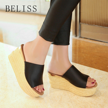 BELISS summer women slippers wedges leather peep toe flats casual shoes fashion high platform female slides S18