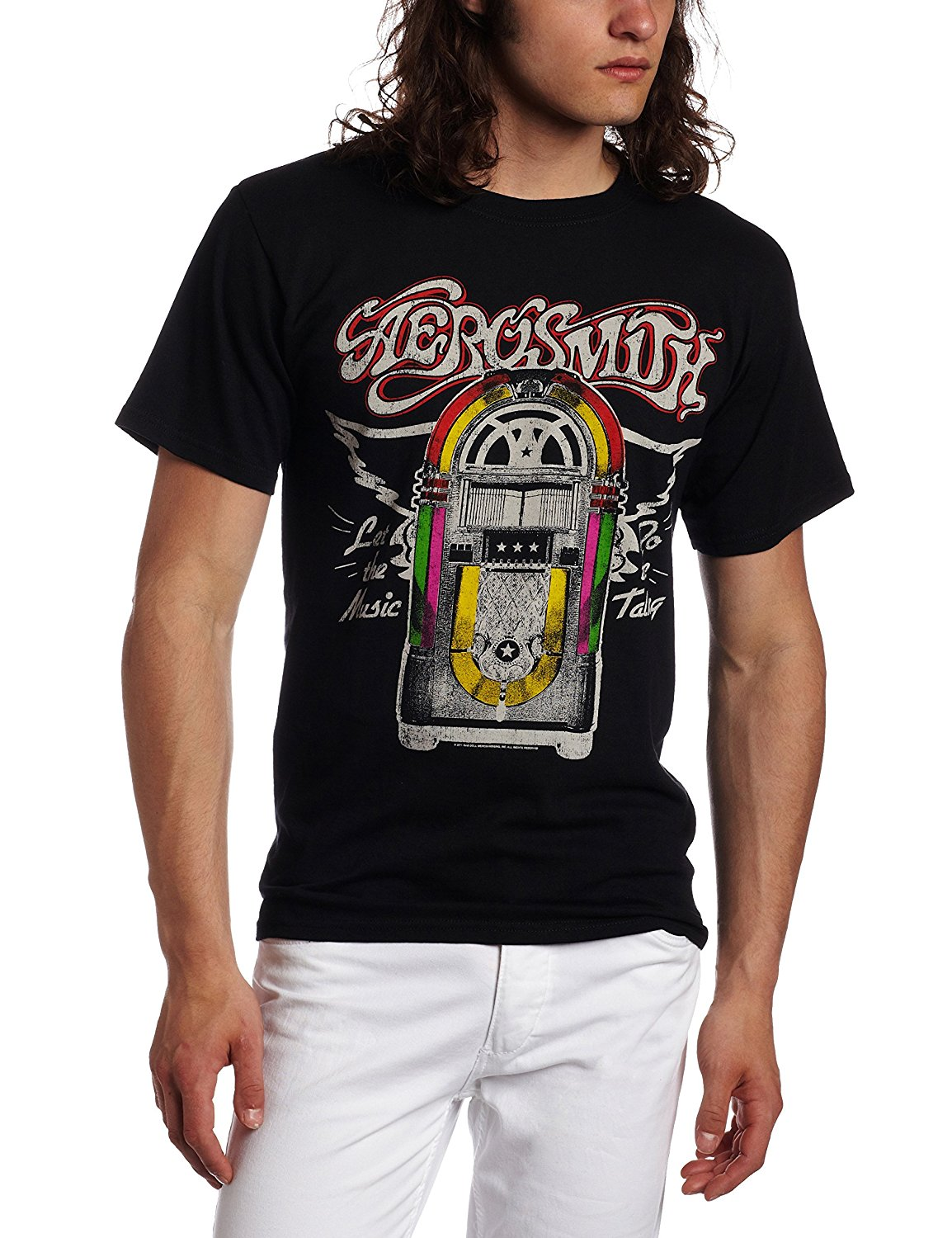 FEA Merchandising Mens Aerosmith Let The Music Jukebox T-Shirt