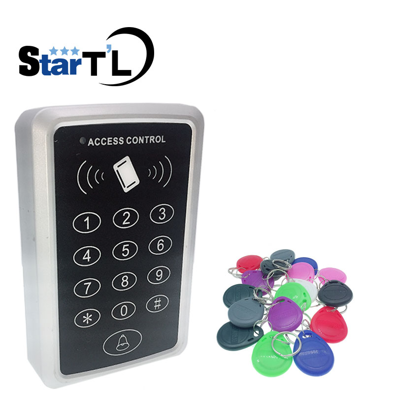 Free shipping gate access control system rfid access control reader 10 EM4100 keychains 125KHz Card Reader For Door Access double sided turnstile for access control system catracas tourniquetes