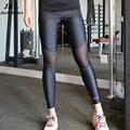 JLZLSHONGLE Сексуальная Mesh Сращивания Леггинсы Женщины Брюки Черный Тренировки Тонкий Фитнес Леггинсы Брюки Плюс Размер Одежды Ropa Mujer
