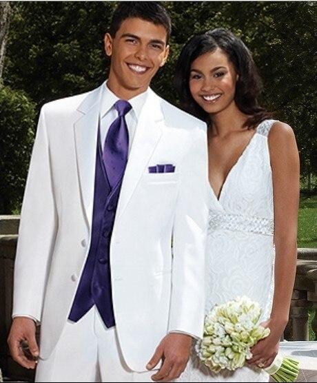 Brand New Groom Tuxedo White Groomsmen Notch Lapel Wedding/Dinner Suits Best Man Bridegroom (Jacket+Pants+Tie+Vest) B188