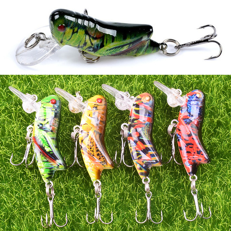 1Pcs 45mm 3.5g Grasshopper Insects Fishing Lures Flying Wobbler Lure Hard Bait Lifelike Artificial Baits Bass Swimbait Pesca