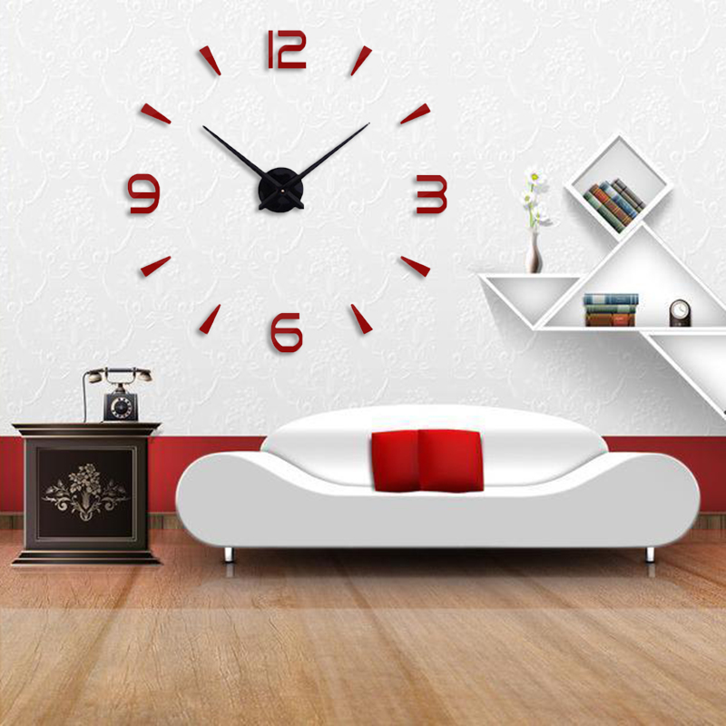 Muhsein  Super 3D DIY Big  Wall Clock Acrylic Metal Mirror Super Big Personalized Digital Wall Watches Clocks Free Shipping