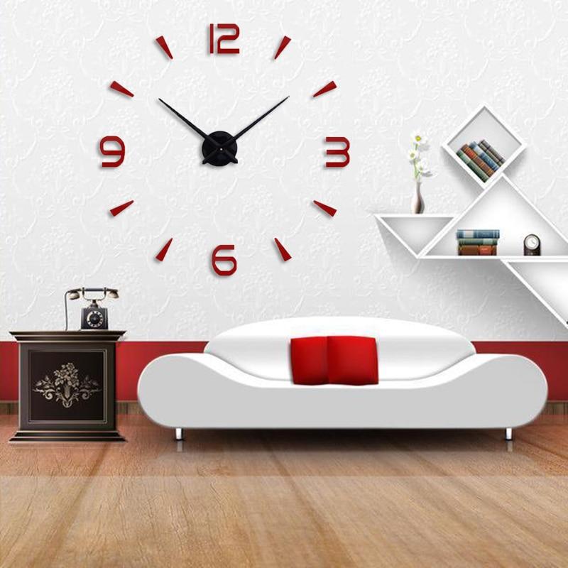 Muhsein  Super 3D DIY Big  Wall Clock Acrylic Metal Mirror Super Big Personalized Digital Wall Watches Clocks Free Shipping