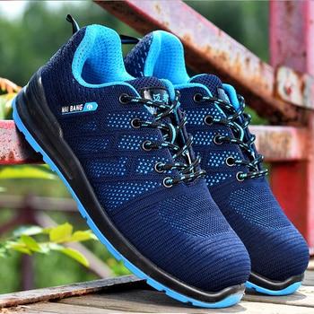 b8ced24258 Los hombres de trabajo zapatos de seguridad zapatos de punta de acero  transpirable Casual bota punción prueba seguro laboral zapatos punción  prueba ...