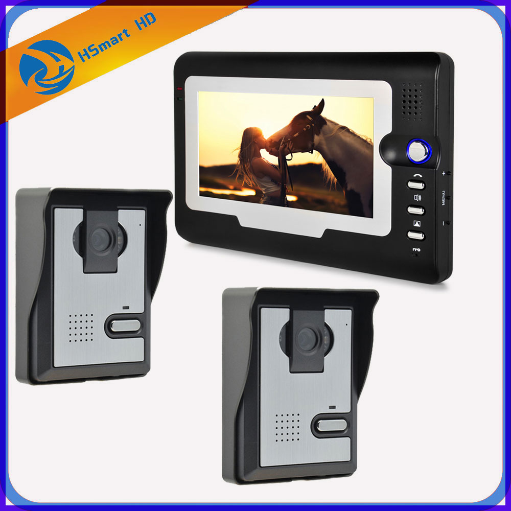 FREE SHIPPING New 7 inch TFT LCD Monitor Video Door phone Intercom System With 2pcs Night Vision Outdoor Camera IN Stock 7inch video door phone intercom system for 10apartment tft lcd screen 10 flat indoor monitor night vision cmos outdoor camera