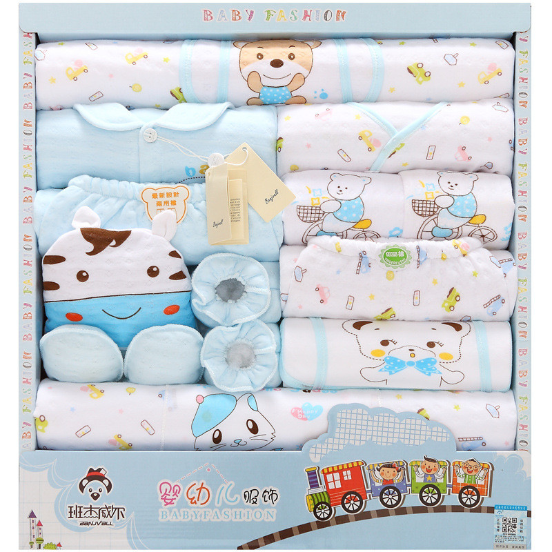 jhsj-32016 new 100% cotton newborn clothes summer baby gift box set baby products newborn baby set 18 pcs for Infant