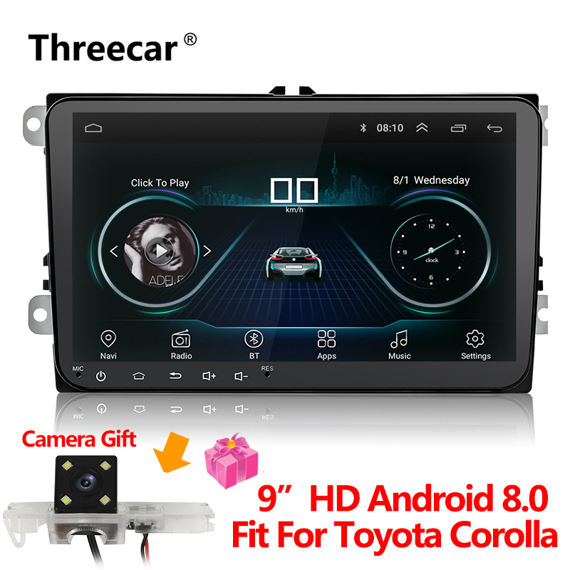 New 9 inch Car Multimedia Player Android 8 GPS Auto radio 2 Din USB For Volkswagen/VW/ Passat/POLO/GOLF/Skoda/Seat/Leon Radio funrover android 8 0 two 2 din 9 inch car dvd player stereo for vw volkswagen polo golf skoda octavia seat radio wifi usb no dvd