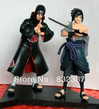 Japanese Anime Cartoon Naruto Sasuke/Itachi 2 pcs/set PVC action figure For Christmas gifts Free Shipping