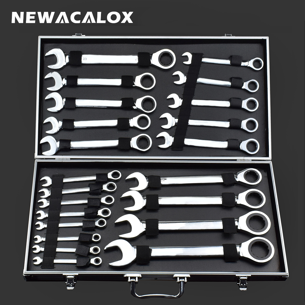 NEWACALOX 22pcs/lot Fixed Double Head Ratchet Wrench Combination Spanner Set Professional Tools Universal Wrench for Repair Tool chrome vanadium steel ratchet combination spanner wrench 9mm