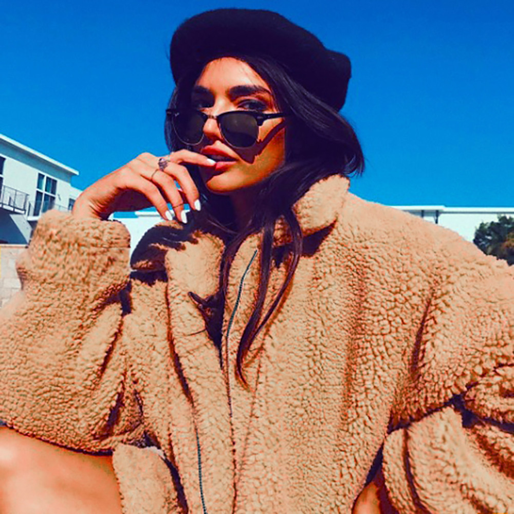 816e51a2313 Faux Fur Warm Winter Coat Plus Size S-3XL Women Fashion Fluffy Shaggy  Cardigan Bomber Jacket Lady Coats Zipper Outwear