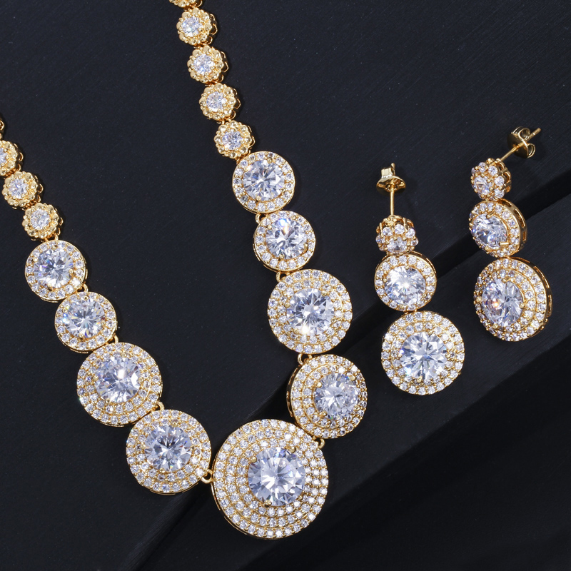 Image 4 - CWWZircons Gorgeous African Cubic Zirconia Luxury Dubai Arab Gold  Color Filled Wedding Necklace Earrings Jewelry Sets T319Bridal Jewelry  Sets